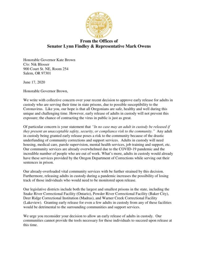 Sen. Lynn Findley and Rep. Mark Owens letter to Gov. Brown