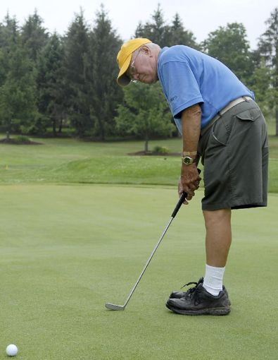 Golf  Northumberland man routinely shoots his age   Sports     Michael Bavero The Daily ItemBoyd Mertz  of Northumberland  takes a few  practice putts at the Bucknell Golf Course on Wednesday  July 9  2008