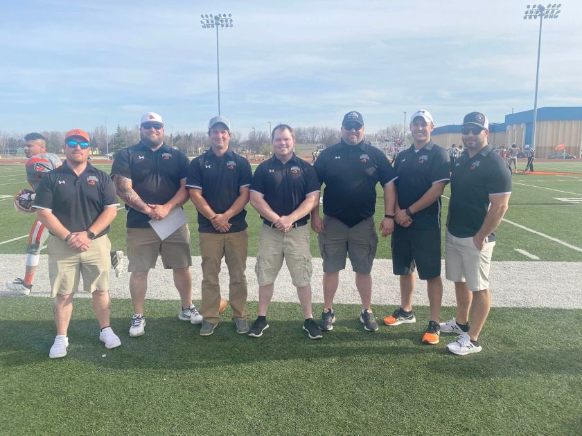 Fargo Invaders coaches Ryan Jacobson, Matt Lemen, Dylan Stender, Zach Stich, Joe Barfknecht, Chris Peterson and Josh Rothstein. The seven coaches were all former players at M State Fergus Falls and now coach together for the Fargo semi-pro team.