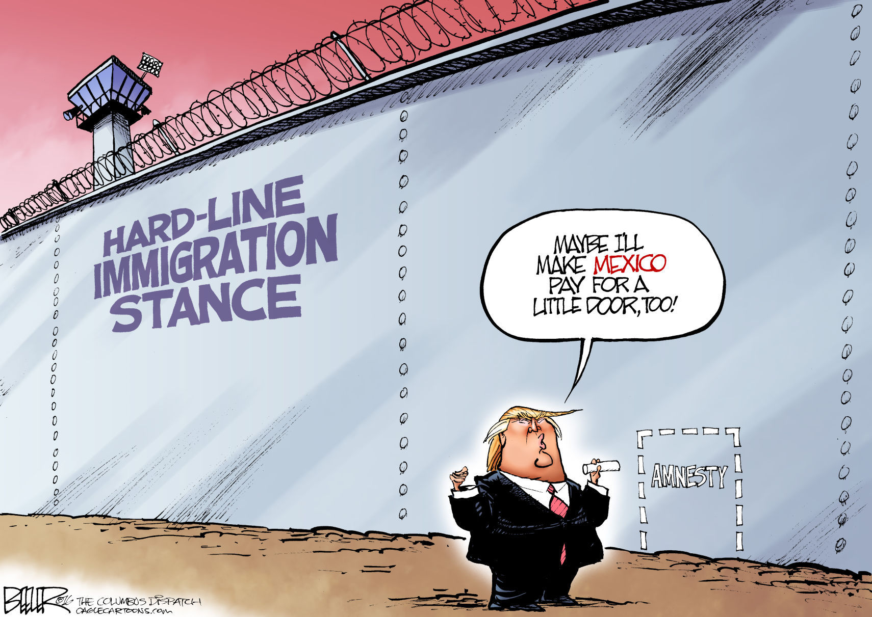Image result for branco cartoons trump paying for the wall