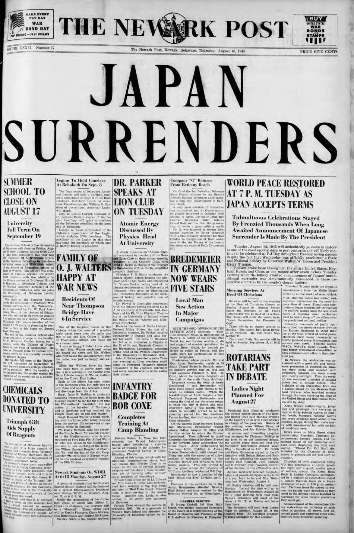Out Of The Attic Newark Post Reports Japanese Surrender