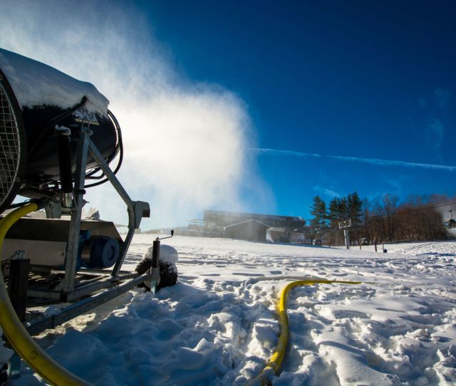 A Snowgun Blasts Snow At The Base Of Gore Mountain On Sunday The Resort Will Open On Saturday A Week Earlier Than Normal