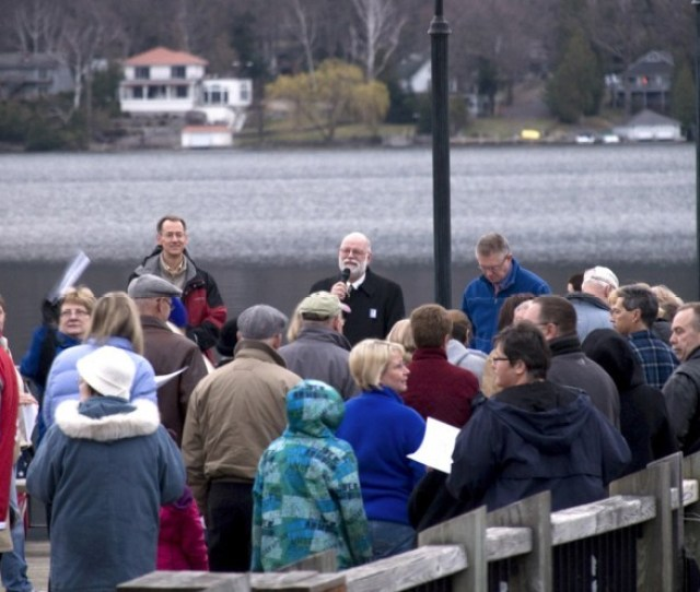 M Cheri Bordelon Special To The Post Star Participants Gather On A Dock For The Annual Ecumenical Sunrise Service At Shepard Park In Lake George On Easter