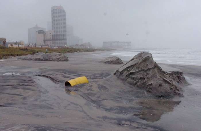 Erosion and damage near Bally's in Atlantic City. Sunday August 28 2011 Aftermath of Hurricane Irene in area. (The Press of Atlantic City / Ben Fogletto)