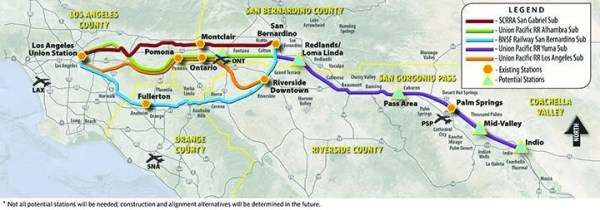 Map of potential Banning, Coachella rail service
