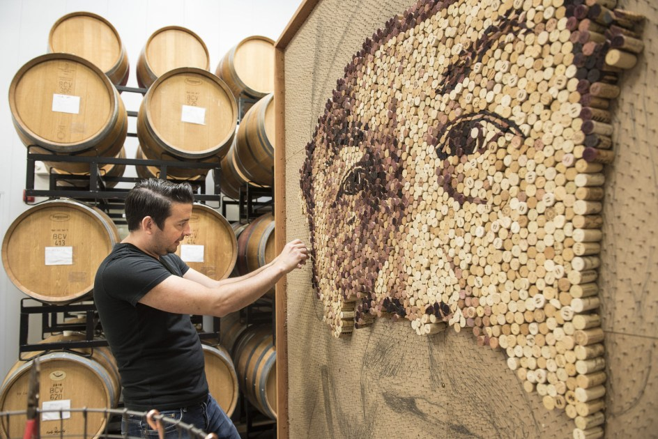 Upcycling At Its Finest: Massive Portrait Made From Wine