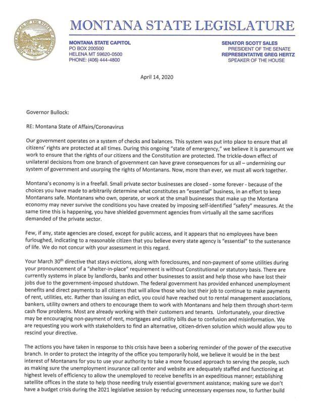 Montana State Legislator letter to governor  Regional  khq.com