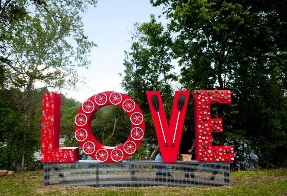Sculpture with the word LOVE