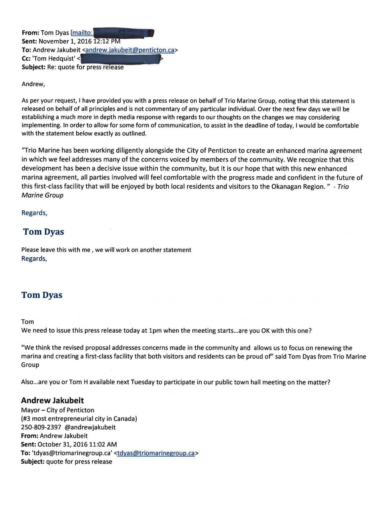 FOI: Correspondence between Jakubeit, Trio owners