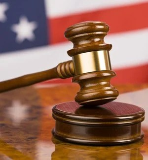 Gavel with flag background