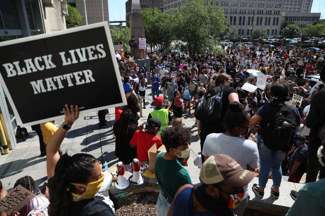 Protest rally at St. Louis City Hall