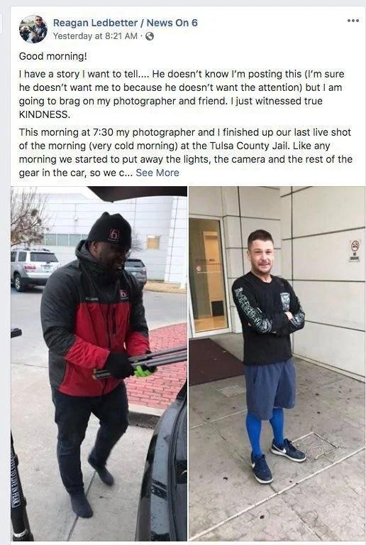 Local TV cameraman gives freezing man the shoes off his feet inspiring viral Facebook