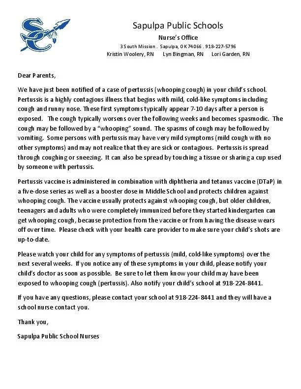 Sapulpa Letter To Parents About Whooping Cough