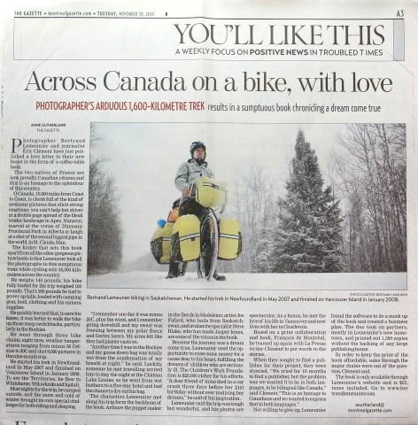 Page A3 du journal The Gazette - 30 novembre 2010