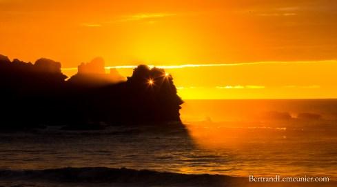 Coucher de soleil au Parc National de Paparoa à Punkaiki