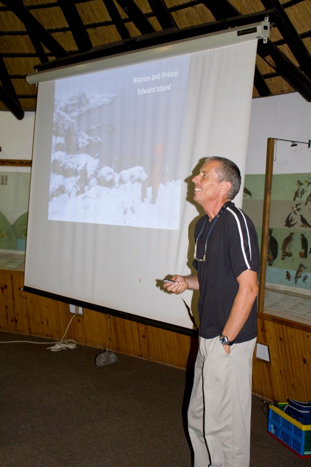 """Peter Ryan in full flow during his talk on """"The Prince Edward Islands: South Africa's next birding frontier""""."""