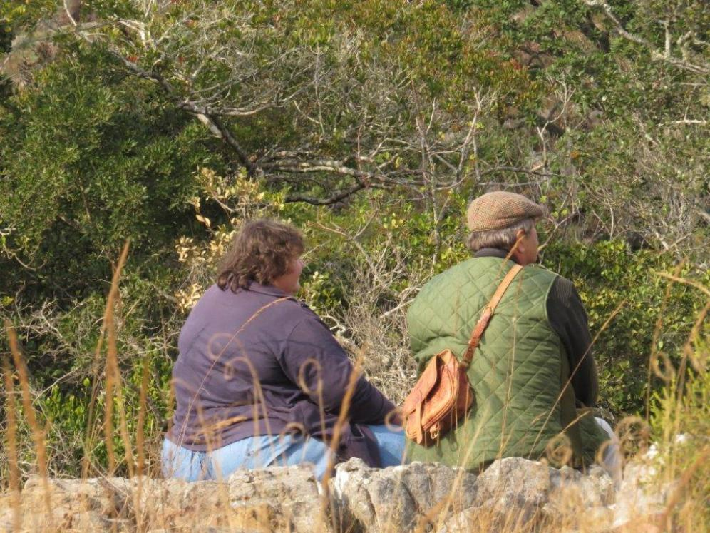 Jenny and Mike on the edge enjoying the Cape Vulture antics