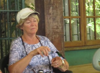 Sally feeding Red-billed Streamertail