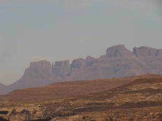 Drakensberg peaks showing the Devil's Tooth on the left