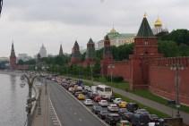 Traffic jam outside of the Kremlin