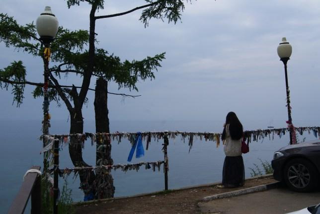 Misty midday at the Baikal lake.