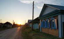 Sunset over Old Believers' village.