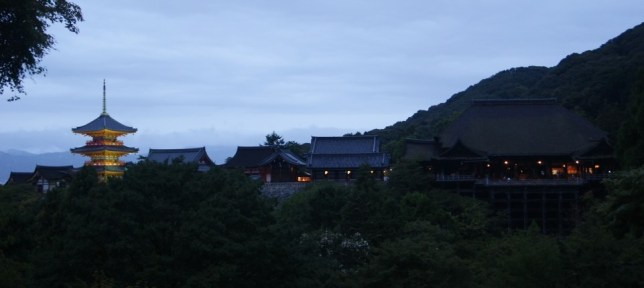Night approaching at the temple Kiyomizu-dera.