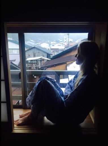 """Templestay complete with a decent view and our own yukatas (Japanese """"room wear."""") Sleeping in a quiet and dry room indoors was also a luxury after a wet week in the tent and the car."""