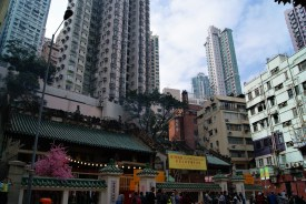 Hong Kong - the city of small temples squeezed in among giant buildings.