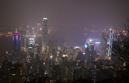 Hong Kong by night as seen from Victoria Peak. February means fog over here, lots and lots of it.