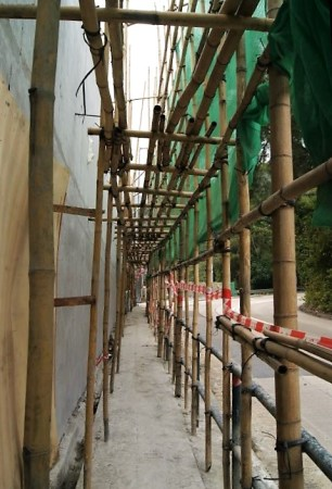 For smaller construction projects you can use bamboo as scaffolding.