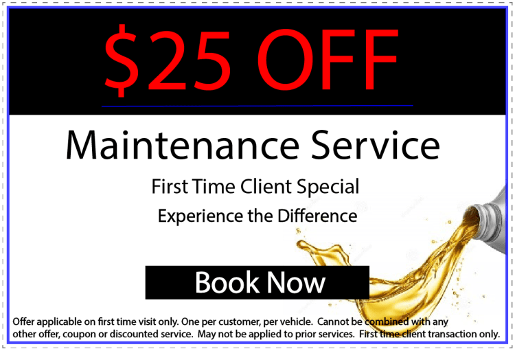 Maintenance Service Coupon. The best way to care for your vehicle.