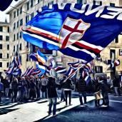 Il corteo degli UTC prima di Sampdoria - Cagliari