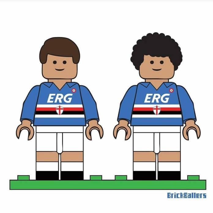Il tributo Lego a Vialli e Mancini a cura di BrickBallers. Questa maglietta è in vendita sul sito www.brickballers.com