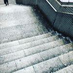 雨で階段が川になってる