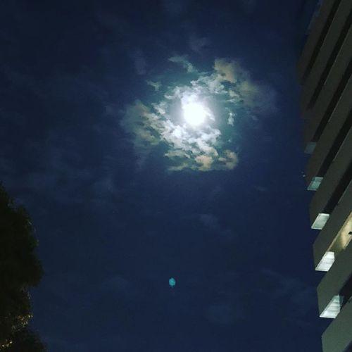 少し雲のある月夜。なんか、この時間に仕事終わってるのなんか可笑しい気がする....
