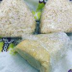 今日のお昼はツナのおにぎりとお誕生日なので、炊飯器で作ったチーズケーキらしき物です笑