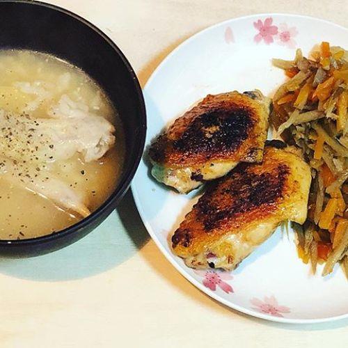 鶏手羽のお粥と鶏手羽焼き
