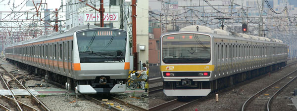 Chuo Line Rapid (left/Orange color) / Chuo-Sobu Local (right/Yellow color)