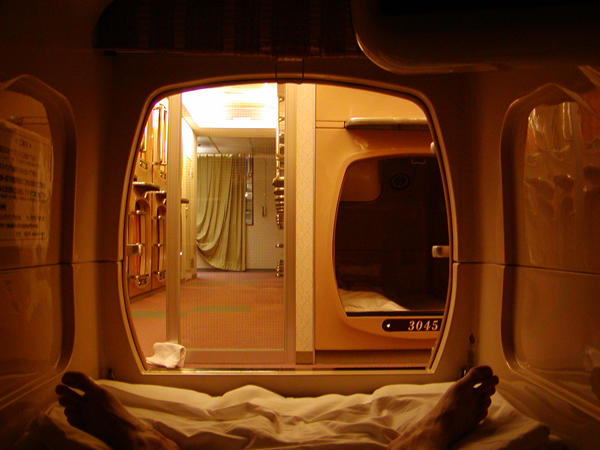Very typical capsule hotel. This photo was not taken at First Cabin Akihabara. (C) atom_balm