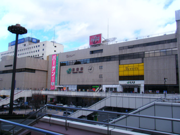 The west side of Takasaki station. The shopping complex building is connected to the station.