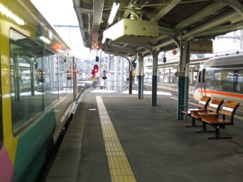 Limited Express Shinano (right) and Limited Express Azusa (left) at Matsumoto station