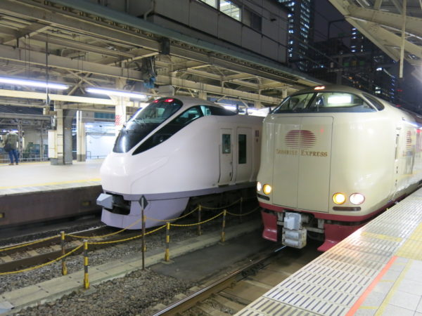 Sunrise Seto (right) and Limited Express Tokiwa (left) at Tokyo station