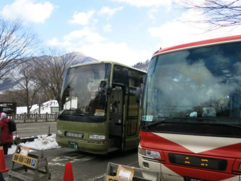 At bus parking in Shirakawago.