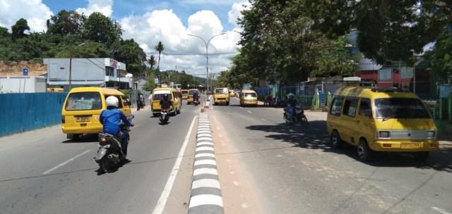 Tampak situasi di areal pelabuhan sorong yang aman dan lancar, foto : Ana
