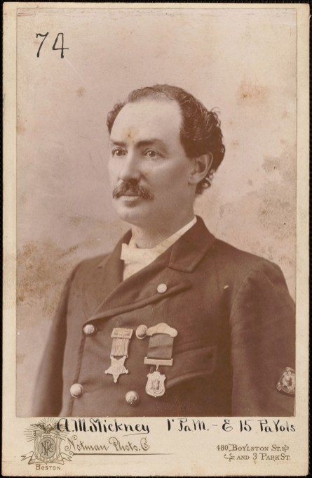 October 2020 A: Allison M. Stickney, Company G, 1st Battalion, Pennsylvania Volunteers 100 Day Militia: Portrait of man wearing medals, round lapel pin and arm patch. Member listing of the S. C. Lawrence Post 66 of Dept. of Massachusetts GAR, Medford, dated 1898 shows Allison M Stickney, from Company G, 1st Battalion Pennsylvania Volunteer Militia and Company E, 15th Pennsylvania Cavalry, with a P. O. address of 11 Wareham Street.