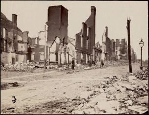 October 2020 G: Ruins at Cary Street, Richmond, Virginia: Men standing amidst brick and stone ruins.