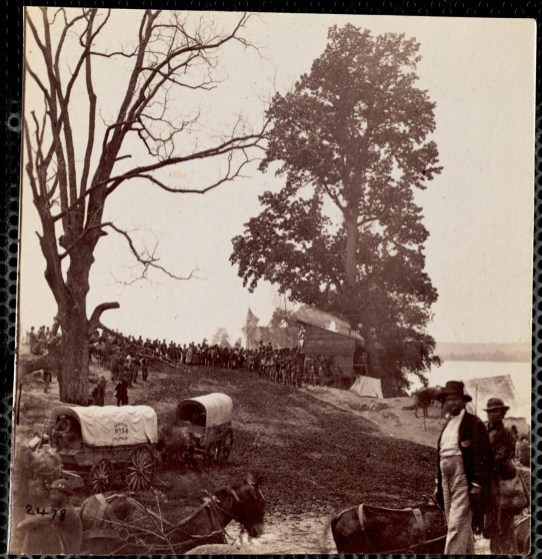October 2020 K: Sanitary Commission Wagons: Field with wagons surrounded by large group of men and horses. Two men in foreground. Wagon labeled: Supply Number 34 2nd B 35d[?] Company B.