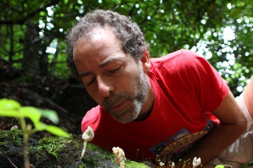 Alan Muskat releasing mushroom spores in the 'wind'