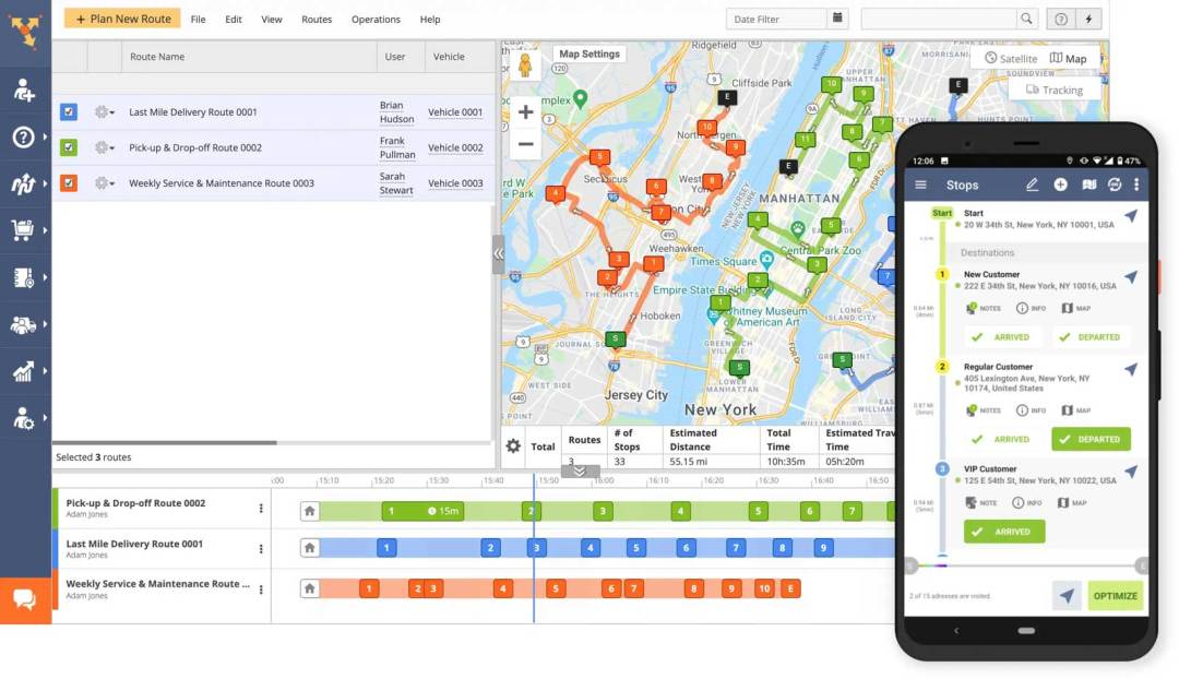 Route4Me Software interface